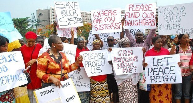 Women gather to protest the kidnapping of 200 Nigerian schoolgirls in Chibok.