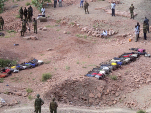 The bodies of massacred workers after latest al-Shabab attack are lined up. (Reuters)