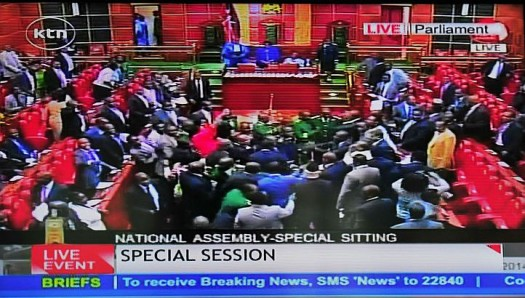 Brawl breaks out in parliament over controversial anti-terrorism law in Kenya.  (Screen Capture of KTN)