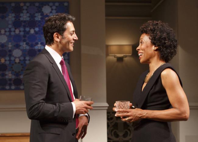 Hari Dhillon (Amir) and Karen Pittman (Jory) star in Ayad Akhtar's play 'Disgraced.' (Photo Credit: Joan Marcus)