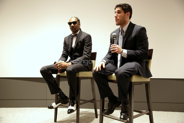 Calvin 'Snoop Dogg' Broadus talks Snoop & Son with director Rory Karpf at the College Football Hall of Fame. (Photo Credit: Robin Lori/Steed Media)