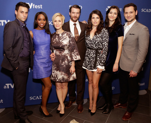 """ATLANTA, GA - FEBRUARY 07: Actors Jack Falahee, Aja Naomi King, Liza Weil, Charlie Weber, Karla Souza, Katie Findlay, and Matt McGorry attend SCAD Presents aTVfest - Awards Presentation & ABC's """"How To Get Away With Murder"""" on February 7, 2015 in Atlanta, Georgia. (Photo by Cindy Ord/Getty Images for SCAD)"""