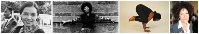 Author Alice Walker, Yoga Instructor Robinn Alston, scholar-activist Dr. Layli Maparyan practice yoga. (Photos: Google Images)