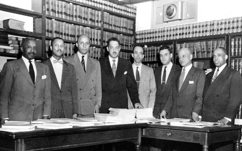 Former Chief Justice Thurgood Marshall, Oliver Hill (founder) and Spotswood Robinson of Brown v. Board of Education were early members of ODBA.  (Photo: PBS)