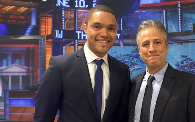 "South African Comic and ""The Daily Show Host"" Trevor Noah, alongside predecessor John Stewart. (Photo: thedailybeast.com)"