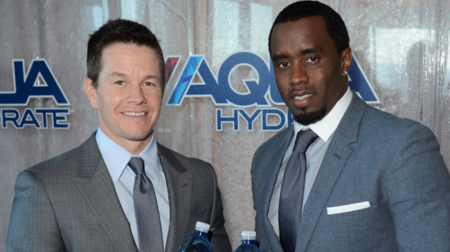 "Sean ""Diddy"" Combs and Mark Wahlberg host press conference to announce their newest venture, Water Brand Aquahydrate on February 27, 2013 in West Hollywood, California."