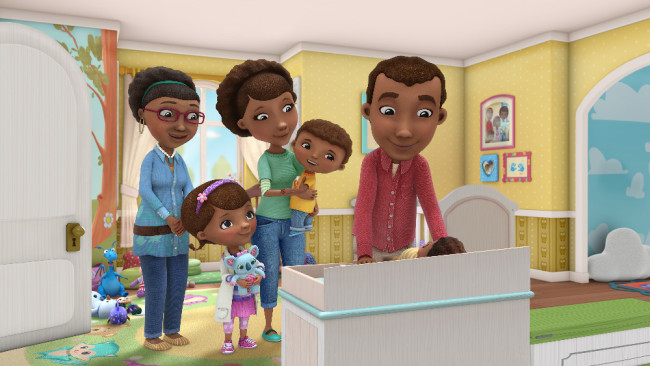 "DOC MCSTUFFINS - The McStuffins family experiences the joys of adoption and also now must adjust to a new baby in the house in a multi-episode story arc of Disney Junior's Peabody Award-winning animated series ""Doc McStuffins,"" beginning FRIDAY, MARCH 4 (8:00-8:30 a.m. EST) on Disney Channel. (Disney Junior) GRANDMA, DOC, MOM, DONNY, DAD"