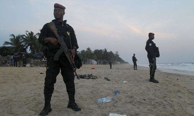 A stretch of beach along Grand Bassam is being guarded by police. (Photo: Google Images)