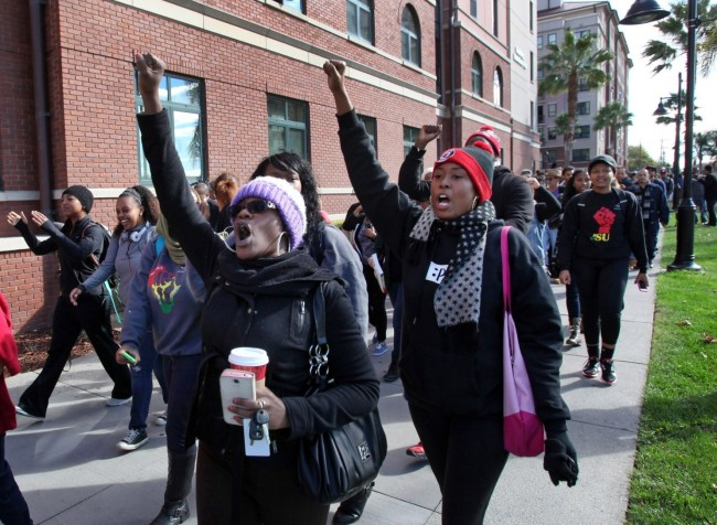 Students march against alleged hate crimes against Donald Williams, Jr. at San Jose State university. (Photo: Google Images)