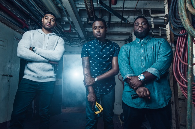 'Ghost Brothers' Juwan Mass (l.), Dalen Spratt (c.) and Marcus Harvey (r.) make television history as the first African-American paranormal investigation team (Photo Credit: Destination America).