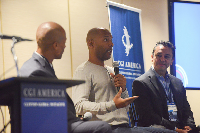 Slack's director of engineering for growth Leslie Miley (center) discusses opportunities for men of color in the tech industry at the sixth annual Clinton Global Initiative America in Atlanta (Photo Credit: Hannah Rael/CGI America).