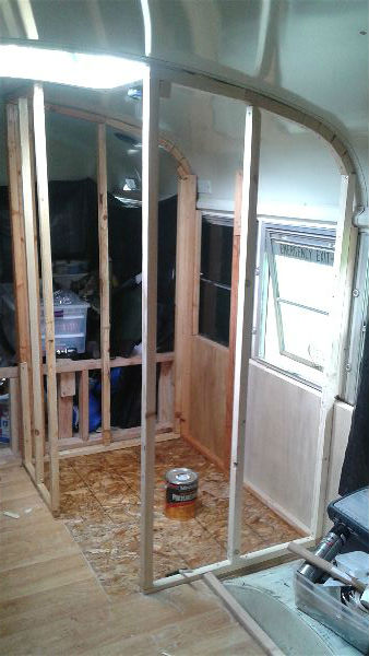School Bus Conversion Bathroom Framing and Paneling  The