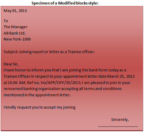 Format of a business letter Modified blocks style