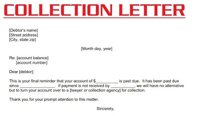 COLLECTION LETTER or Dunning Letter