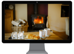 holiday home website log fire