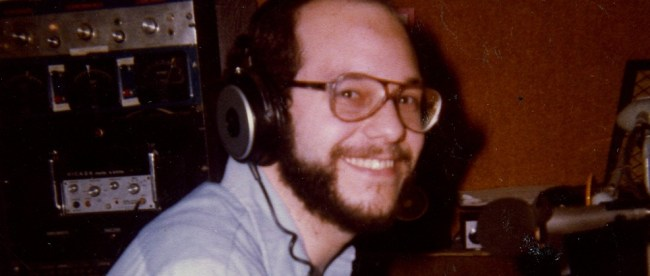 Steve at the control board of WRLB-FM, Long Branch, NJ, about 1979.
