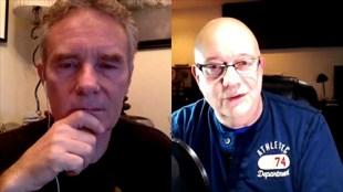 "Brad ""MagicBrad"" Gudim, left, host of the SynergyCafé video podcast, interviews Steve about the book."