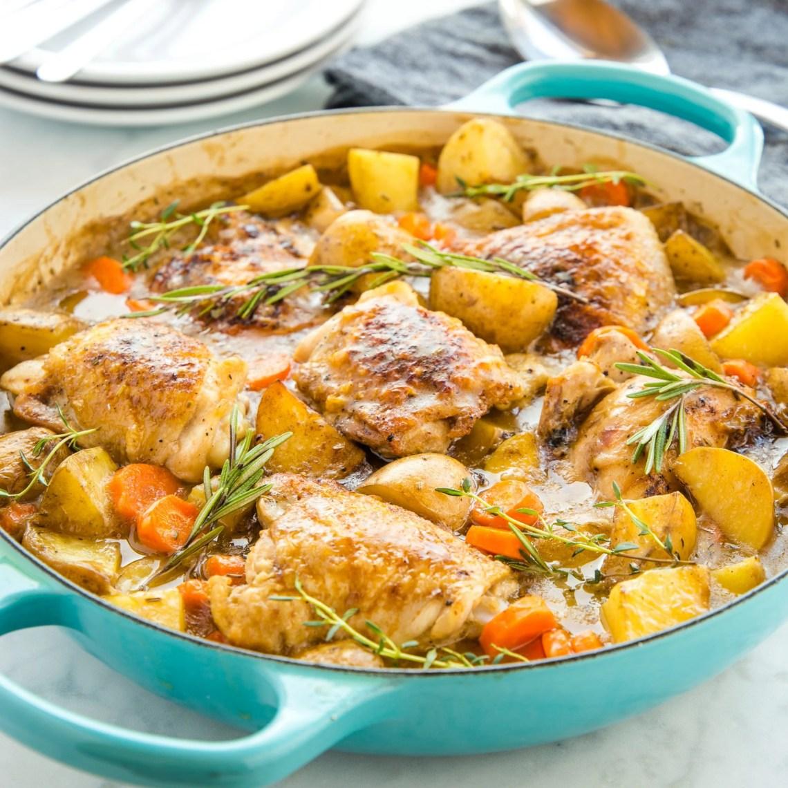 Easy One Pot Roasted Chicken Dinner - The Busy Baker