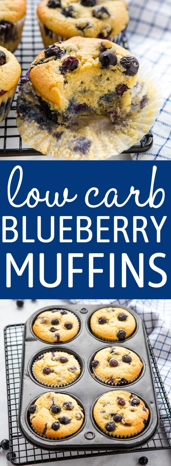 These Best Ever Low Carb Blueberry Muffins are fluffy and sweet, with a classic muffin texture - gluten-free, sugar-free, and only 3 grams of net carbs per muffin! Recipe from thebusybaker.ca! #blueberrymuffins #lowcarb #keto #baking #ketobaking #blueberries #lowcarbmuffins #healthy #almondflour #glutenfree #sugarfree via @busybakerblog