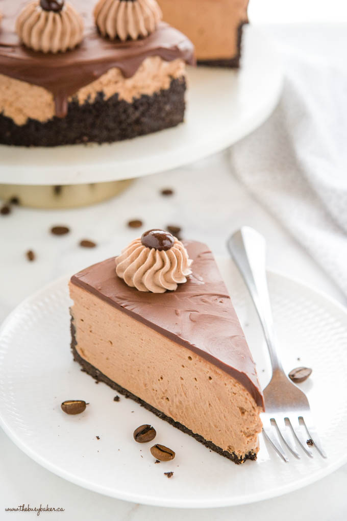 slice of chocolate cheesecake with coffee and chocolate ganache