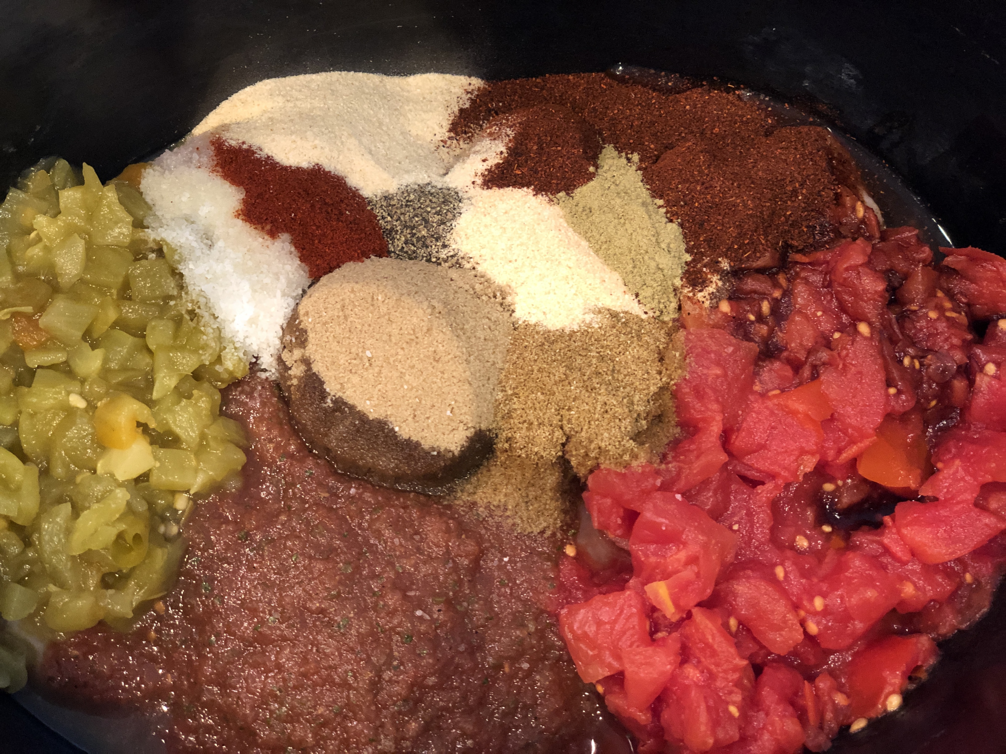 Crockpot Mexican Chicken - ingredients in slow cooker