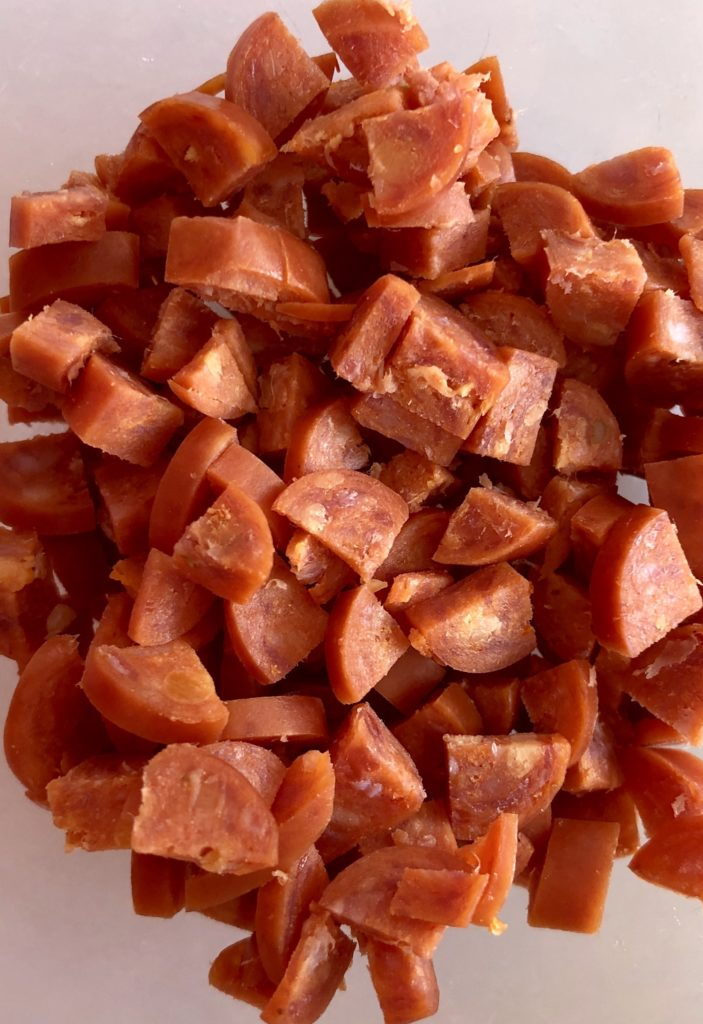 Chopped pepperoni for Homemade Bagel Bites    The Butcher's Wife