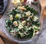 Spinach Tortellini salad in a bowl