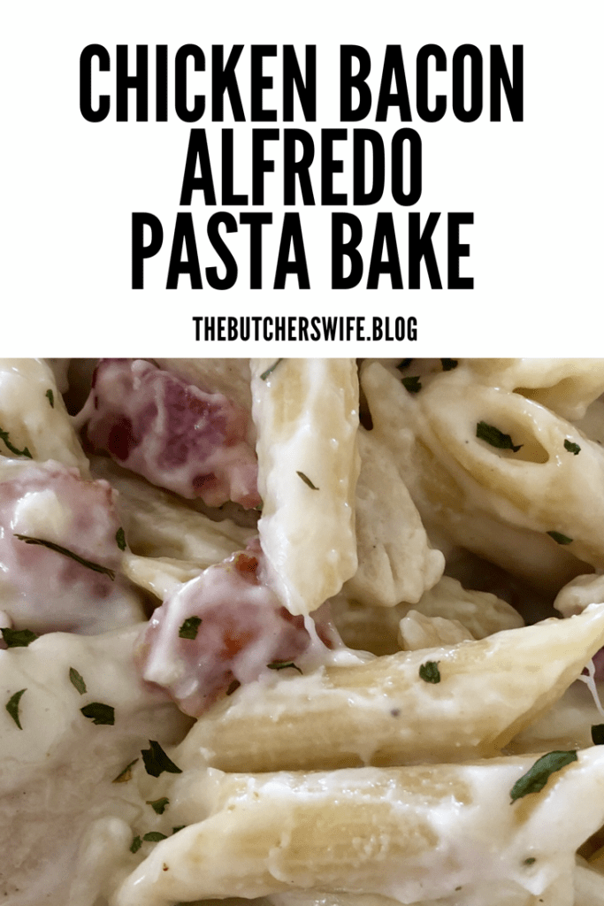 Chicken Bacon Alfredo Pasta Bake