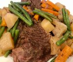 Simple Slow Cooker Pot Roast - meat and veggies