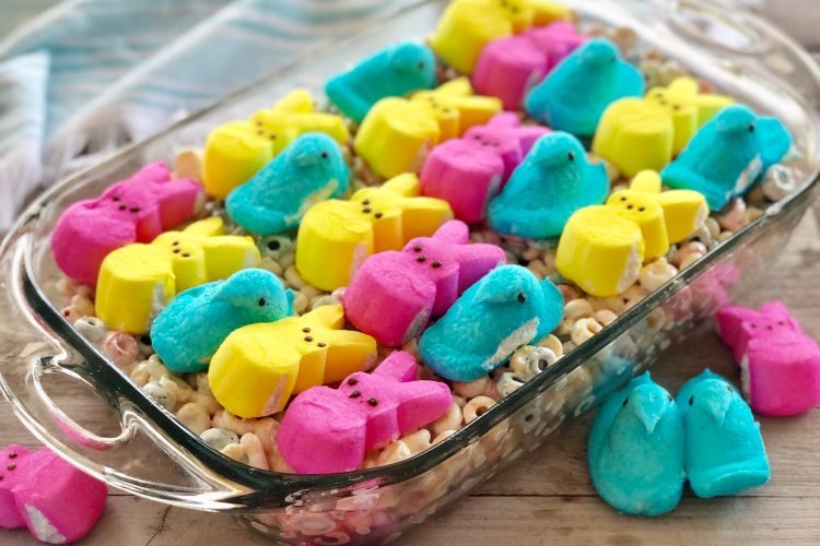 The perfect Easter Marshmallow Treats made with Peeps cereal