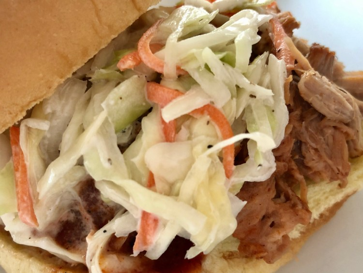 pulled pork sandwich with homemade coleslaw