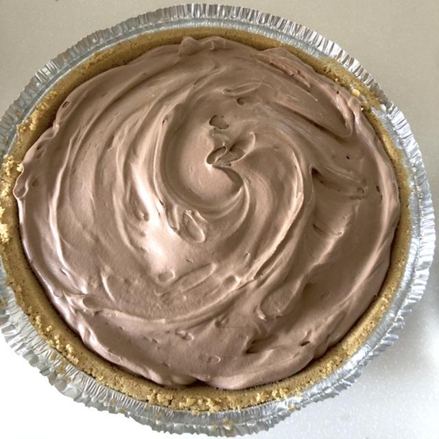 Easy chocolate cream pie in a graham cracker pie crust