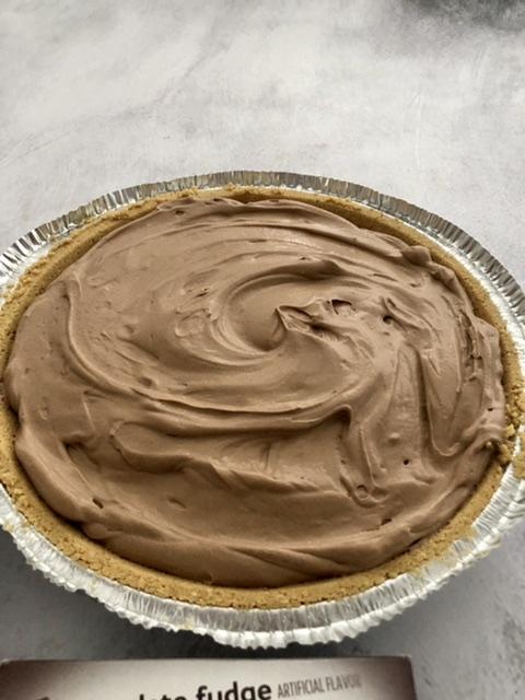 Easy Chocolate Cream pie in a graham cracker crust