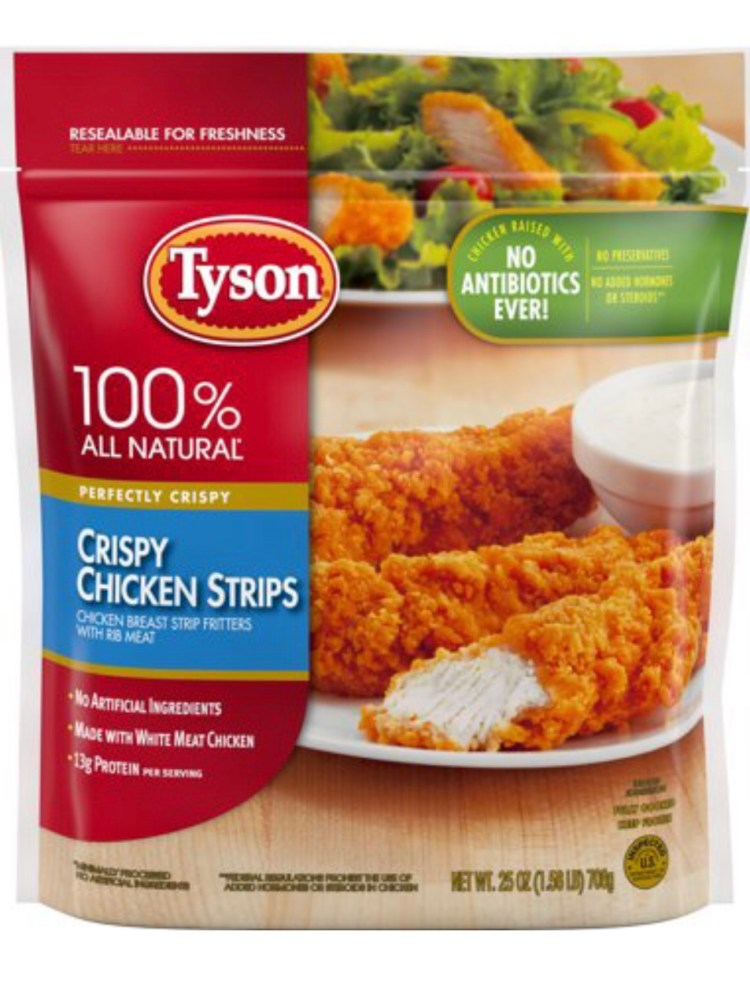 Bag of Tyson Brand Chicken Strips that can be used in place of making homemade chicken strips