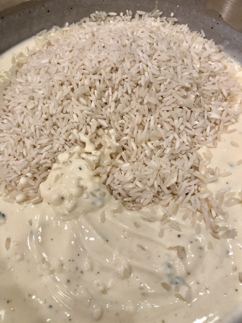 rice added to the soup mixture