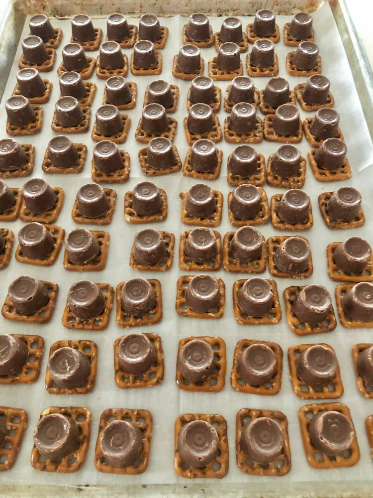 pretzels topped with ROLOs