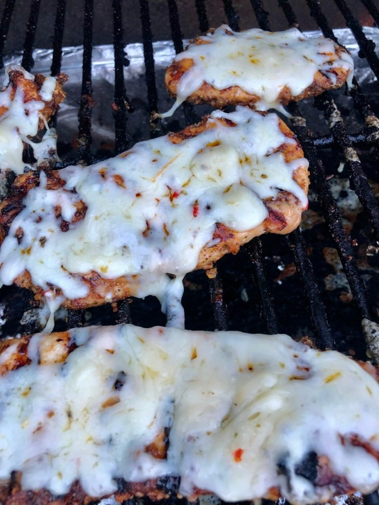grilled chicken topped with pepper jack cheese and left on the grill for the cheese to melt