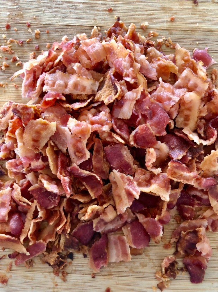 crispy thin cut bacon crumbled for easy BLT Ranch Pasta Salad