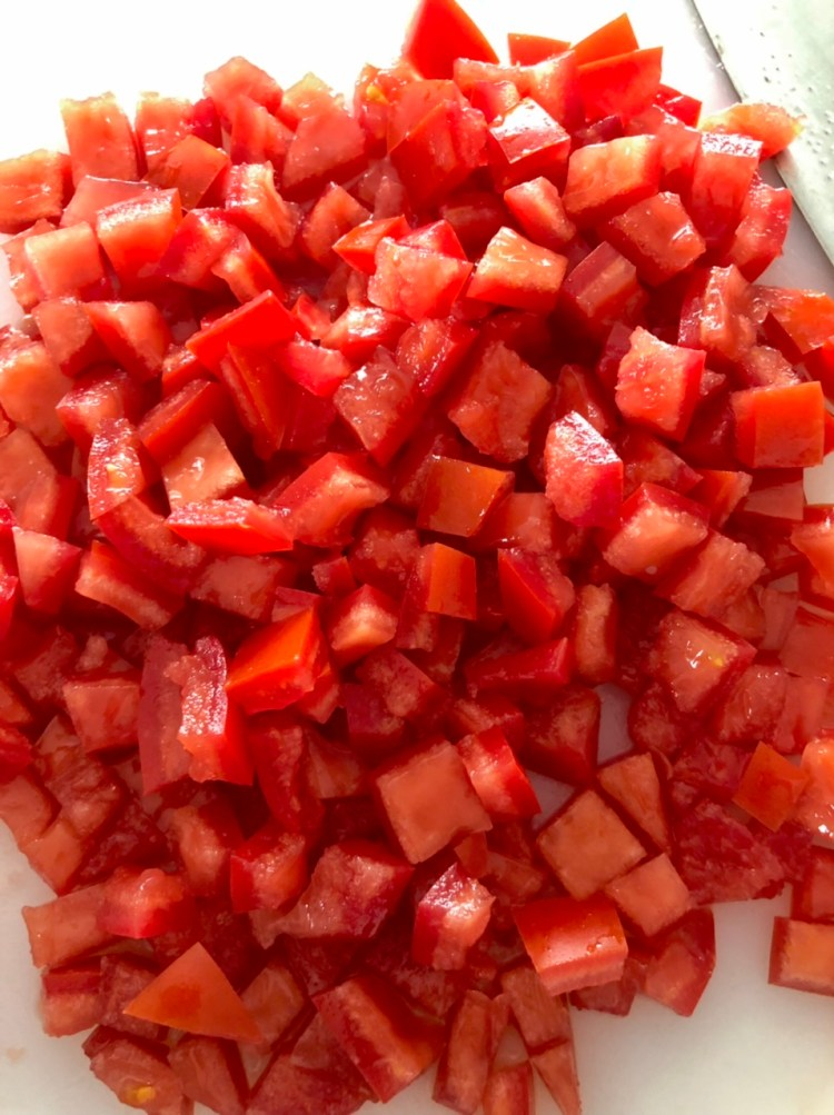 red tomatoes diced/chopped to BLT Ranch Pasta Salad