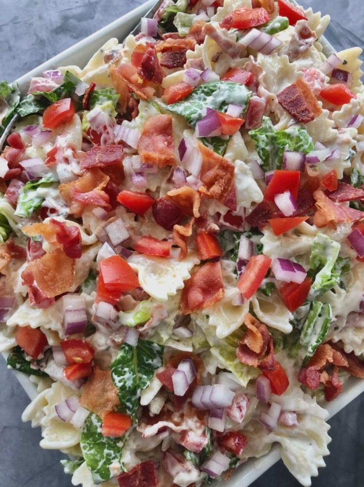 above close up shot of BLT Ranch Pasta salad