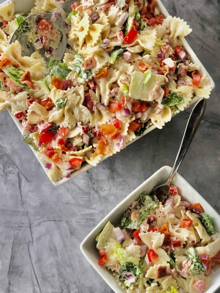 up close shot of BLT pasta salad being served