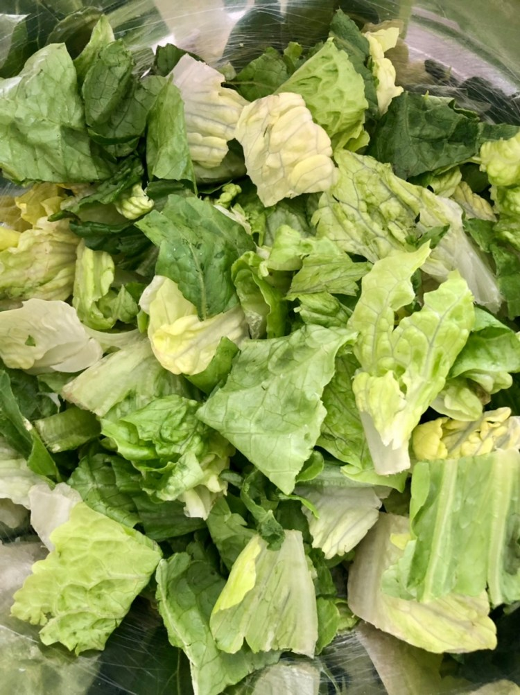 chopped romaine lettuce for easy BLT pasta salad with ranch dressing