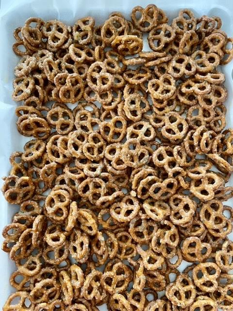butter ranch pretzels on a sheet pan