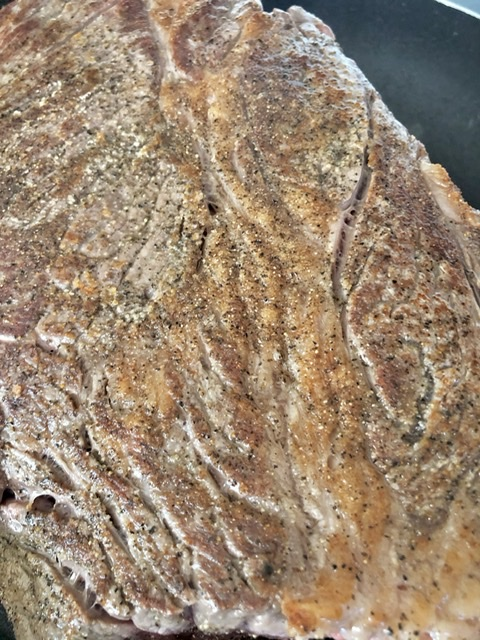 up close shot of seared roast
