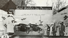 Lawn decorations during Homecoming week.  Photo from 1965 edition of The Drift