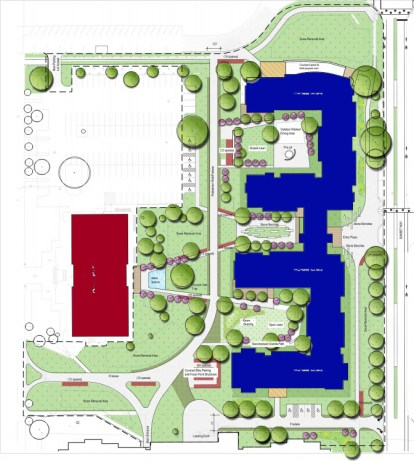 Conceptual plan for the new housing facility breaking ground this March. Red represents Irwin Library and blue represents the new housing facility.