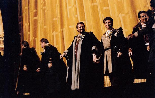 Studebaker (middle) at the Metropolitan Opera following a performance of Wagner's Die Meistersinger von Nürnberg.