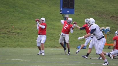 (Collegian File Photo) QB Malcom Weaver (center) threw for five touchdowns in five games last season.