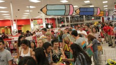 Crowds of students entering Target. Photo by Amy Street