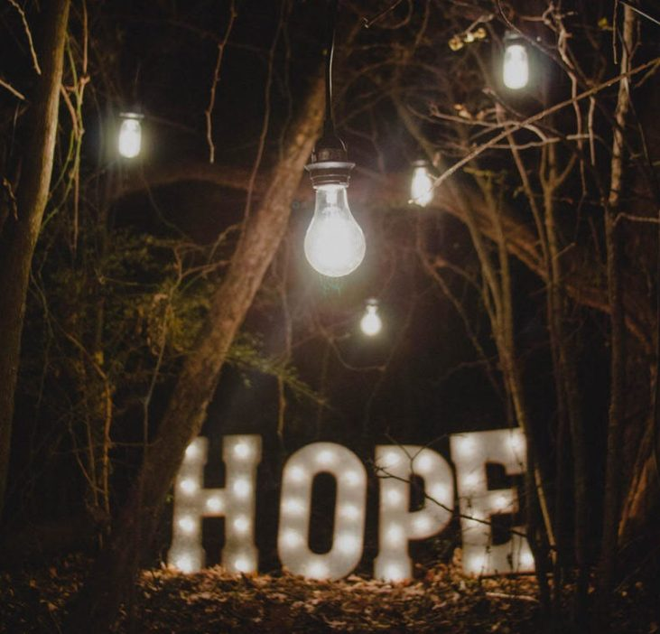 Light box word hope in dark woods - postnatal depression and anxiety